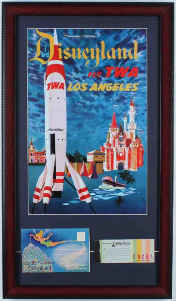 Disneyland Fly TWA 15x26 Custom Framed Advertisement Display with Vintage Ticket Book & Photo Portfolio at PristineAuction.com