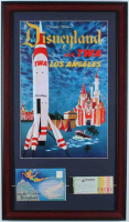 Disneyland Fly TWA 15x26 Custom Framed Advertisement Display with Vintage Ticket Book & Photo Portfolio at PristineAuction.com