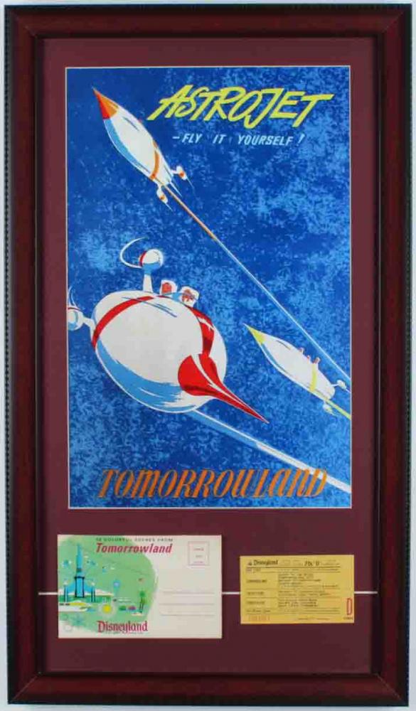 "1960s Disneyland ""Tomorrowland"" 15x26 Custom Framed Print Display with Vintage Ride Ticket & Photo Portfolio at PristineAuction.com"