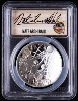 Nate Archibald Signed 2020-P Basketball Hall of Fame Silver Dollar - First Day of Issue (PCGS PR69 Deep Cameo) at PristineAuction.com