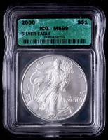 2000 American Silver Eagle $1 One Dollar Coin (ICG MS69) at PristineAuction.com