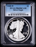 2008-W American Silver Eagle $1 One Dollar Coin (PCGS PR69 Deep Cameo) at PristineAuction.com