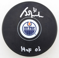 "Grant Fuhr Signed Oilers Logo Hockey Puck Inscribed ""HOF 03"" (Beckett COA) at PristineAuction.com"