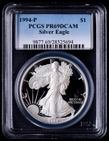 1994-P American Silver Eagle $1 One Dollar Coin (PCGS PR69 Deep Cameo) at PristineAuction.com