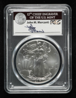 2017 American Silver Eagle $1 One Dollar Coin - John M. Mercanti Signed Label (PCGS MS70) at PristineAuction.com