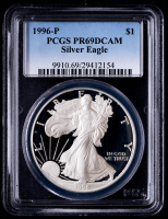 1996-P American Silver Eagle $1 One Dollar Coin (PCGS PR69 Deep Cameo) at PristineAuction.com