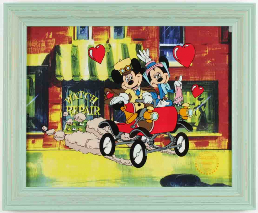 """Walt Disney's Mickey & Minnie Mouse LE """"Nifty Nineties"""" 13.5x16.5 Custom Framed Animation Serigraph Display at PristineAuction.com"""