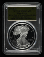 2018-W American Silver Eagle $1 One Dollar Coin - First Day of Issue Philadelphia, Gold Foil Label (PCGS PR70 Deep Cameo) at PristineAuction.com