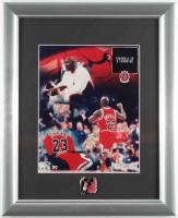Michael Jordan Bulls LE 12x15 Custom Framed Upper Deck Photo Display with 5 Time League MVP Pin at PristineAuction.com