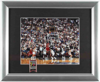 "Michael Jordan Bulls ""The Final Shot"" 17x21 Custom Framed Photo Display with 6x NBA Champions Pin at PristineAuction.com"