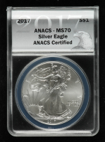 2017 American Silver Eagle $1 One Dollar Coin - Black Eagle Label (ANACS MS70) at PristineAuction.com