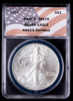 2004 American Silver Eagle $1 One Dollar Coin - Flag Labels (ANACS MS70) at PristineAuction.com