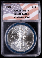 2012 American Silver Eagle $1 One Dollar Coin (ANACS MS70) at PristineAuction.com
