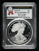2019-W American Silver Eagle $1 One Dollar Coin - First Strike, From the Congratulations Set (PCGS PR70 Deep Cameo) at PristineAuction.com