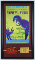 "Vintage Disneyland ""Primeval World"" 15x26 Custom Framed Print Display with Primeval World Postcard & Vintage Ticket at PristineAuction.com"
