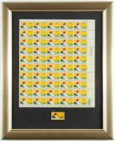 1969 MLB 100 Year Uncut Sheet of (50) Stamps 16x13 Custom Framed Display with Metal Postage Stamp Pin at PristineAuction.com