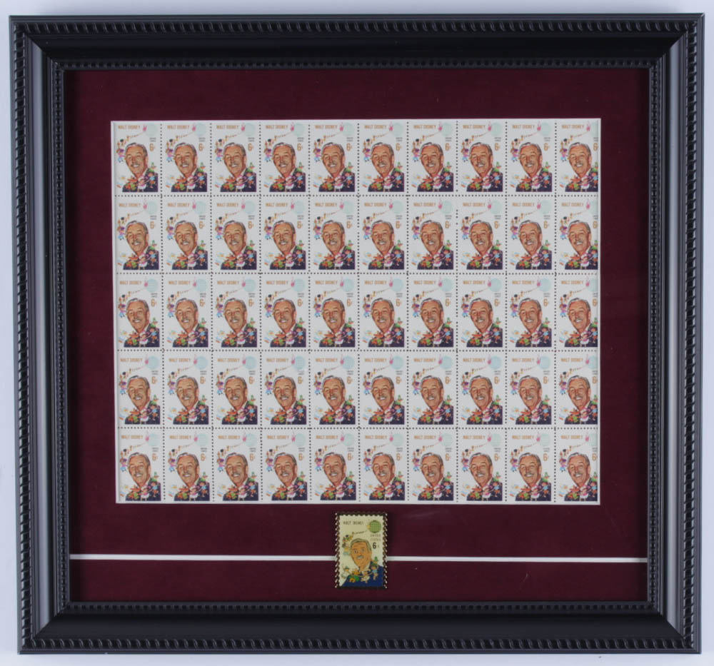 Walt Disney 12.75x14 Custom Framed Vintage 1968 Full Uncut Postage Stamp Sheet Display with (50) Stamps & Stamp Pin at PristineAuction.com