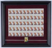 Walt Disney 12.75x14 Custom Framed Vintage 1968 Full Uncut Postage Stamp Sheet Display with (50) Stamps & Stamp Pin at PristineAuction.com