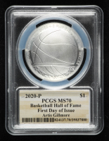 Artis Gilmore Signed 2020-P Basketball Hall of Fame Silver Dollar - First Day of Issue (PCGS MS70) at PristineAuction.com