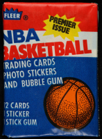 1986 Fleer Basketball Unopened Wax Pack with Michael Jordan 1986-87 Fleer Stickers #8 at PristineAuction.com