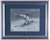 "Bob Feller Signed Indians 13x16 Custom Framed Display with Vintage 1965 Retired Chief Wahoo Lapel Pin Inscribed ""Rapid"" (PSA COA) at PristineAuction.com"