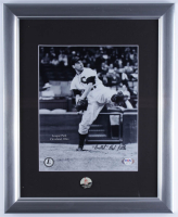 """Bob Feller Signed Indians 13x16 Custom Framed Display With Indians Pin Inscribed """"Bullet"""" (PSA COA) at PristineAuction.com"""