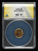 1999 American Gold Eagle $5 Five Dollar 1/10 oz Gold Coin (ANACS MS69) at PristineAuction.com