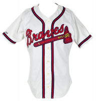 500 Home Run Club Braves Jersey Signed by (11) with Mickey Mantle, Hank Aaron, Ernie Banks, Frank Robinson, Mike Schmidt (Beckett LOA) (See Description) at PristineAuction.com