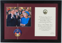 "Ronald Reagan ""Inauguration Day"" 16x23 Custom Framed Photo Display with Vintage 1981 Lapel Pin & Invite Letter at PristineAuction.com"