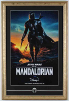 "Star Wars ""The Mandalorian"" 15x22 Custom Framed Poster Display with Official Pin at PristineAuction.com"