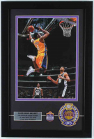 Kobe Bryant Lakers 14x21 Custom Framed Photo Display with Vintage 1960 Team Patch & Career Highlight Stat Pin at PristineAuction.com
