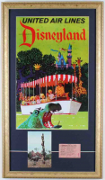 Disneyland Cruise 15x26 Custom Framed Poster Display with Vintage Souvenir Postcard & Vintage Disneyland E Cruise Ticket at PristineAuction.com