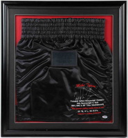 Mike Tyson Signed LE 24.5x26.5 Custom Framed Boxing Shorts Display With Career Stats (PSA COA) at PristineAuction.com