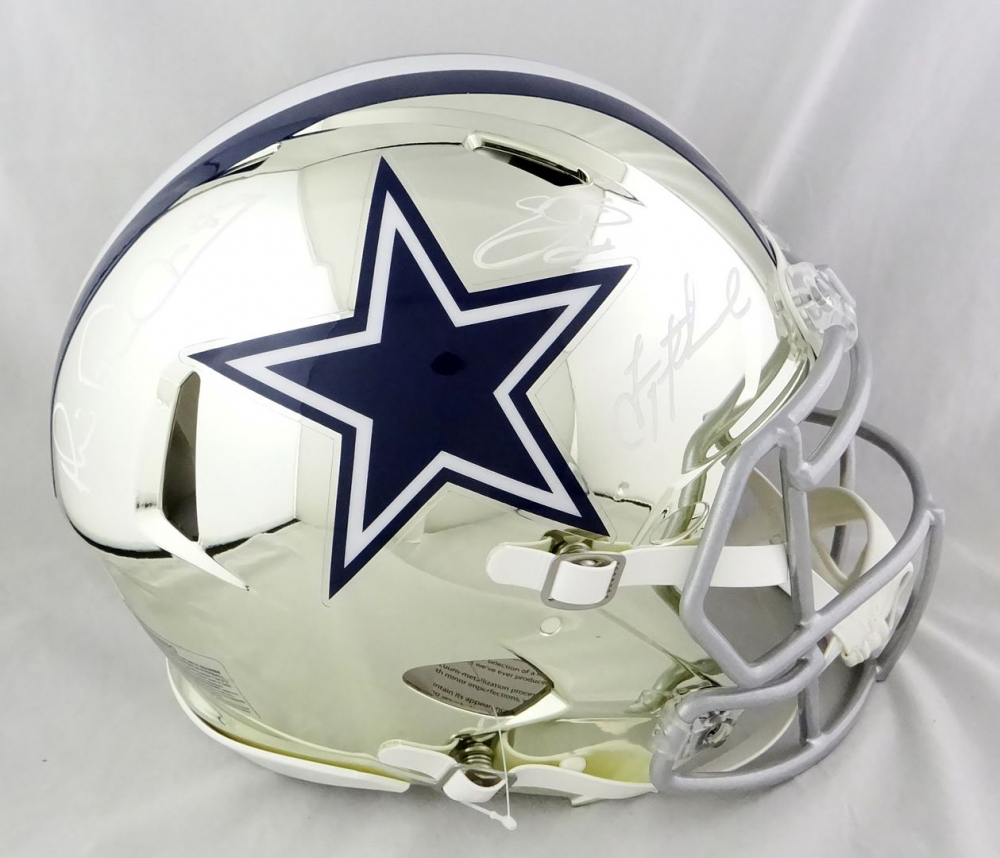 Troy Aikman, Emmitt Smith, & Michael Irvin Signed Cowboys Full-Size Authentic On-Field Chrome Speed Helmet (Beckett Hologram) at PristineAuction.com