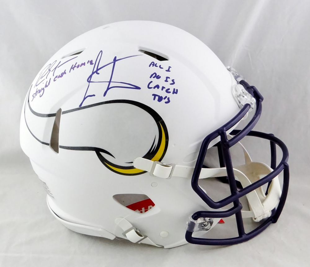 """Randy Moss & Cris Carter Signed Vikings Full-Size Authentic On-Field Matte White Speed Helmet Inscribed """"Straight Cash Homie"""" & """"All I Do Is Catch TD's"""" (Beckett Hologram) at PristineAuction.com"""