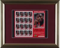 Michael Jordan Bulls 13x16 Custom Framed Uncut Postage Stamp Sheet Display With (16) Stamps (See Description) at PristineAuction.com