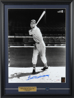 Ted Williams Signed Red Sox 19x25.5 Custom Framed Photo Display with 1960's Red Sox Pin (PSA LOA & Williams Hologram) at PristineAuction.com