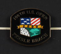 100th U.S. Open Pebble Beach 16x18 Custom Framed Textured Art Print Display with Tiger Woods 2000 U.S. Open Champion Lapel Pin at PristineAuction.com
