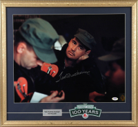 Ted Williams Signed 21x23 Custom Framed Photo Display with Fenway Patch (PSA LOA & Williams Hologram) at PristineAuction.com