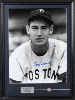 Ted Williams Signed 19x25 Custom Framed Photo Display with Jersey Retirement Pin (PSA LOA & Williams Hologram) at PristineAuction.com