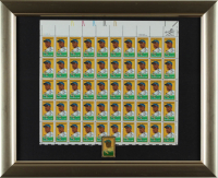 Jackie Robinson Dodgers 13x16 Custom Framed Uncut Postage Stamp Sheet Display With (50) Stamps & Commemorative Metal Stamp Pin (See Description) at PristineAuction.com