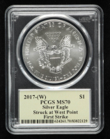 2017(W) American Silver Eagle $1 One Dollar Coin, First Strike, Struck at West Point Mint - Thomas S. Cleveland Signed Label (PCGS MS70) at PristineAuction.com