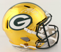 Davante Adams Signed Packers Full-Size Chrome Speed Helmet (JSA COA) at PristineAuction.com