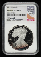 2018-W American Silver Eagle $1 One Dollar Coin - John M. Mercanti Signed Label (NGC PF69 Ultra Cameo) (Toned) at PristineAuction.com