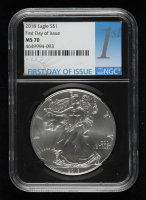 2018 American Silver Eagle $1 One Dollar Coin - First Day of Issue, Black Core Holder (NGC MS70) at PristineAuction.com