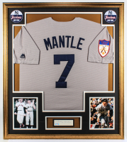 Mickey Mantle Signed Yankees 32.75x36.75 Custom Framed Cut Display with Replica 1951 Yankees Rookie Jersey (PSA LOA) at PristineAuction.com