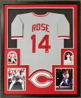 """Pete Rose Signed 34x42 Custom Framed Jersey Inscribed """"4256"""" (Rose Hologram) at PristineAuction.com"""