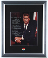 John F. Kennedy 13x16 Custom Framed Photo Display with Vintage 1960's Campaign Pin at PristineAuction.com