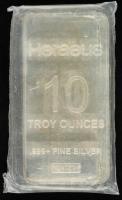 10 Troy Oz .999 Fine Silver Heraeus Mint Bullion Bar at PristineAuction.com