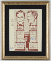 "Bob Lemon & Robin Roberts Signed Hall of Fame 12.5x15.5 Custom Framed Hand-Numbered Bill Gallo Art Print Display Inscribed ""HOF 76"" & ""H.O.F. 76"" (PSA COA) at PristineAuction.com"